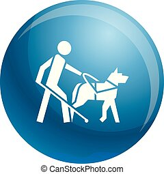 Blind boy dog guide icon, simple style