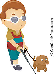 Illustration of a Blind Boy Being Guided by a Seeing Eye Dog