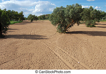 Blind creek in Australia - Dried river in Alice Springs,...