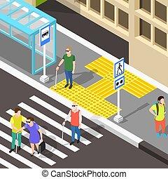 Blind Crosswalk Paving Background - Isometric blind people...