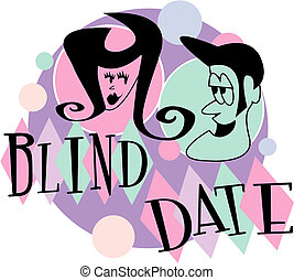 Blind date retro vintage cartoon clip art