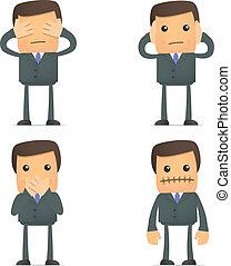 Blind Deaf Mute - set of funny cartoon businessman in...