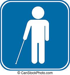 Blind disabled sign on white background. Vector...