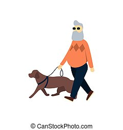 blind, dog., oud, vision., walk., oudere persoon, impaired, blindheid, senior, gids, man