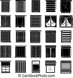 Blind icons set, simple style - Blind icons set. Simple set...