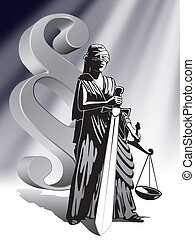 Blind Lady Justice holding scale and sword