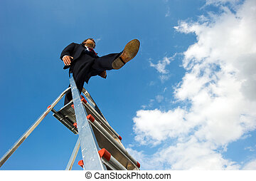 Blind leap - Business man standing on a ladder, taking a...