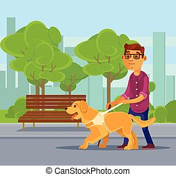 Blind man character walking with guide dog character.