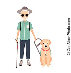 Blind man. Colorful image featuring visually impaired...