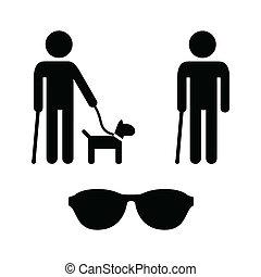 Blind man icons set - guide dog