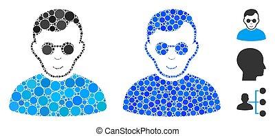 Blind Man Mosaic Icon of Circles - Blind man mosaic of ...