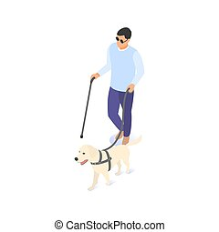 Blind man on a walk with a cane and a guide dog.