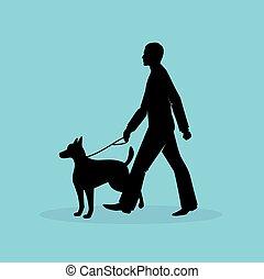 Blind man silhouette image - Vector illustration of Blind...