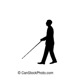 Blind Man - Silhouette of a blind man walking