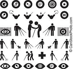 Blind man symbol on white background
