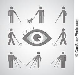 Blind man symbol on gray background