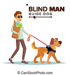 Blind Man Vector. Person With Pet Dog Companion. Blind...