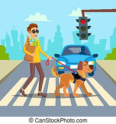 Blind Man Vector. Young Person With Pet Dog Helping...