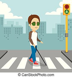 Blind Man Walking Pedestrian Crossing - Blind man holding...