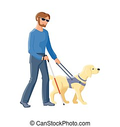 Blind man walking with cane and guide dog