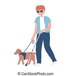 blind man wearing glasses walking with dog a cane walking