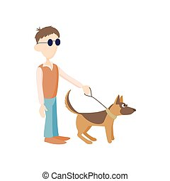 Blind man with dog guide icon, cartoon style