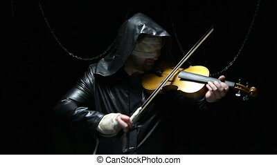 Blind man with fiddler, video on black background