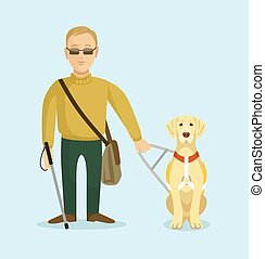 Blind man with guide dog. Vector flat illustration