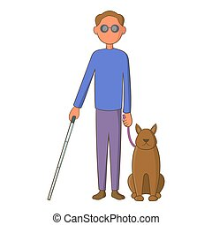 Blind man with guide dog icon, cartoon style - Blind man...