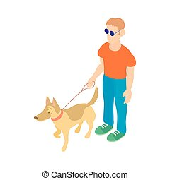 Blind man with guide dog icon, cartoon style