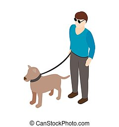 Blind man with guide dog icon, isometric 3d style