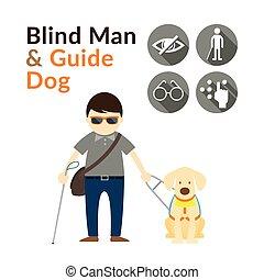 Blind Man with Guide Dog, Seeing Eye Dog