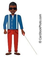 Blind man with stick. - An african-american blind man in ...