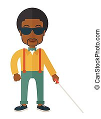 Blind man with stick. - An african-american blind man in...