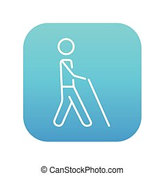 Blind man with stick line icon. - Blind walking man with a...