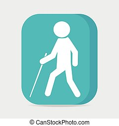 Blind man with stick symbol