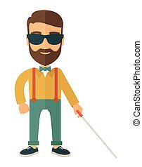 A blind caucasian with walking stick inside the house. A Contemporary style. Vector flat design illustration isolated white background. Vertical layout.