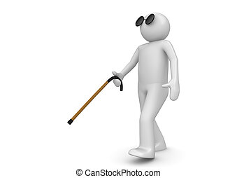 Blind man with walking stick - 3d characters isolated on...