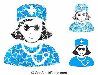 Blind nurse Mosaic Icon of Joggly Parts - Blind nurse ...