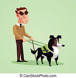 Blind person man character and dog guide. Vector cartoon illustration