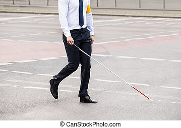 Blind Person Walking On Street - Blind Person With White...