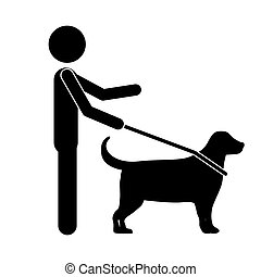 blind person with a guide dog isolated icon design