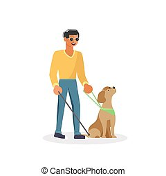Blind person with guide dog and walking stick