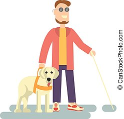 Blind person with guide dog and walking stick . Isolated on...