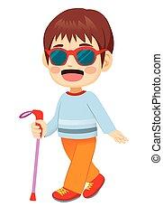 blind, pojke, litet, vandrande
