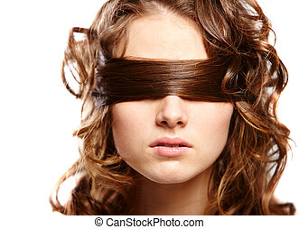 Blind - Portrait of woman covering eyes by her hair
