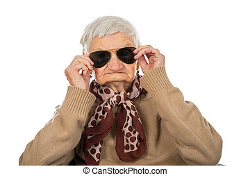 Blind senior woman