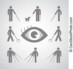 blind, symbol, man