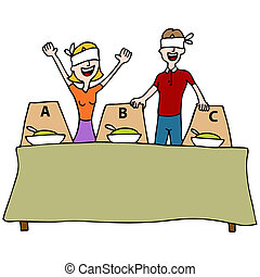 Blind Taste Test Table - An image of a people at a blind...
