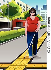 blind, vandrande, trottoar, folk